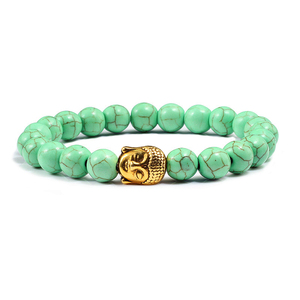 Image 4 - Trendy Natural Stone Lava Strand Bracelets Metal Buddha Head Beaded Charm Prayer Bracelets&Bangles Jewelry Handmade Gifts