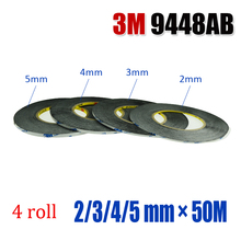 3M 9448AB Mixed size 4 roll(2/3/4/5 mm) width, 50 meter long Double Sided Layer Adhesive Sticky Tape Sticker