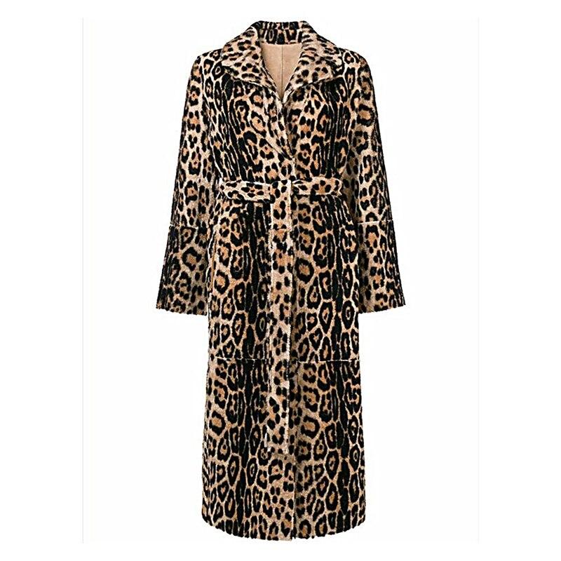 Lâche Veste Femmes Longs Fourrure Mode Manteau 1 De Pour Hiver Survêtement Léopard Manteaux Fausse Chaud Revers En Luxe qZIv6Y