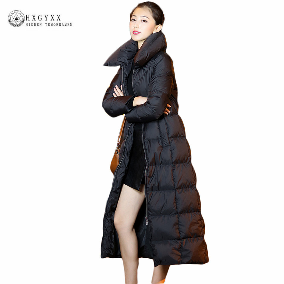 Long Winter Women Down Coat 90% White Duck Down Jacket Goose Feather Parka 2018 Black Warm Zipper Puffer Quilted Outwear OKB166 women s new winter quilted jacket chunky puffer coat full zip spliced sweater hood padded outwear with knit sleeve