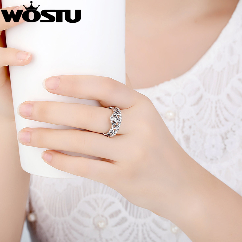 Hot Sale 925 Perak Crown Wedding Rings Dengan Kristal Eropa Otentik - Perhiasan fashion - Foto 6