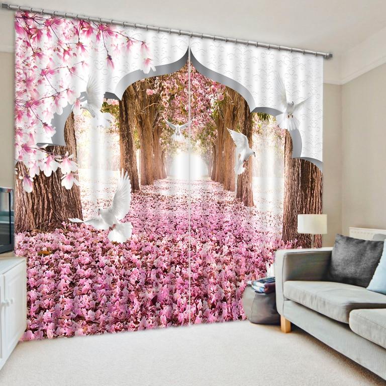 Europea 3D Curtains Cherry blossoms Custom Photo Printing Window ...