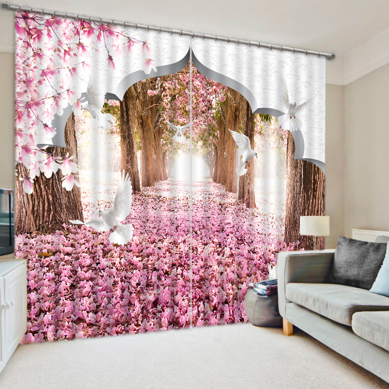 Europe 3D Painting Cherry Blossoms Curtains Window Curtains Custom Blackout  Curtains Luxury Living Room Home Decor