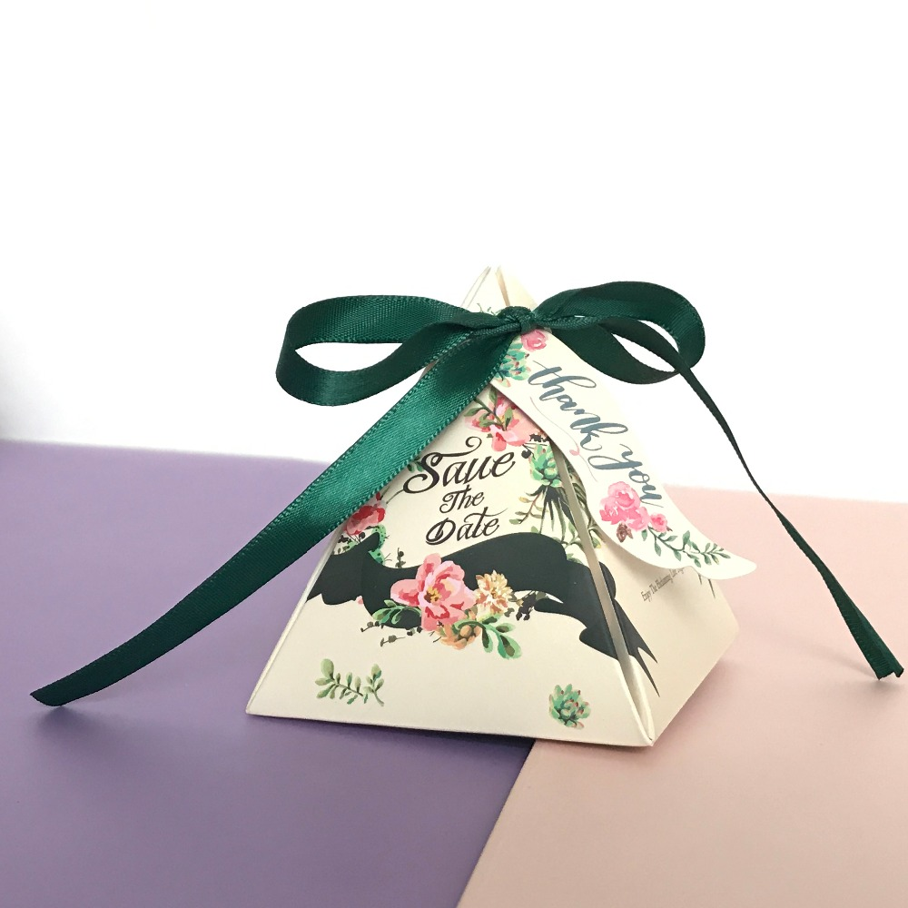 HAOCHU 20Pcs Candy Gift Box Triangular Wrap Ribbon Bow Wedding ...