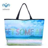 Women S Handbags Large Capacity Function Tote Bag Wonderful Scenery Printing Flax Fiber Beach Bag Big