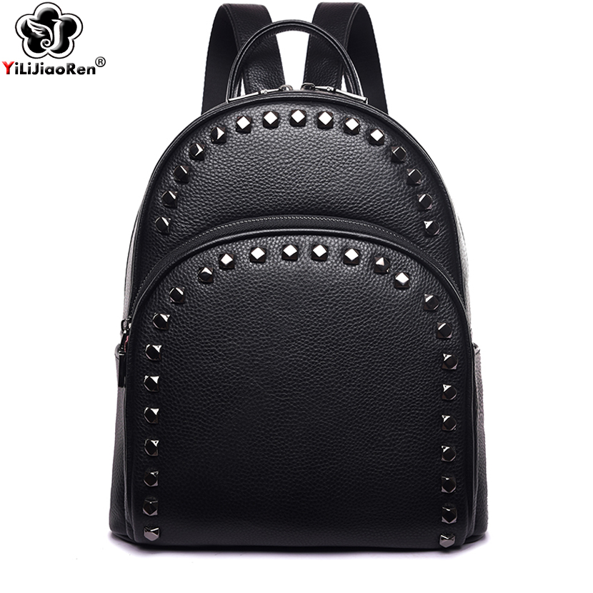 Fashion Rivet Genuine Leather Women Backpack Brand Cow Leather Backpack Female Large Capacity School Bags for