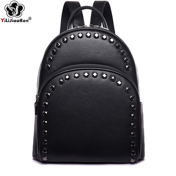 Fashion Rivet Genuine Leather Women Backpack Brand Cow Leather Backpack Female Large Capacity School Bags for Teenage Girls 2019 hanyuna brand 2017 new fashion mini genuine leather backpack for school teenage girls women backpack female backpack