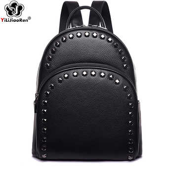 Fashion Rivet Genuine Leather Women Backpack Brand Cow Leather Backpack Female Large Capacity School Bags for Teenage Girls 2019 - DISCOUNT ITEM  39% OFF All Category