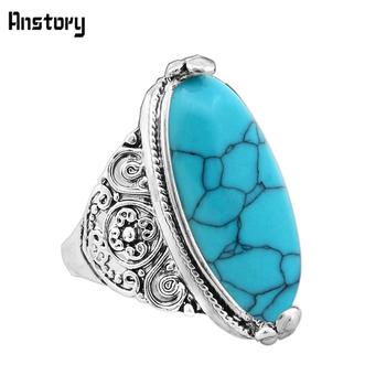 Flower Band Oval Synthetic Turquoises Rings For Women 1