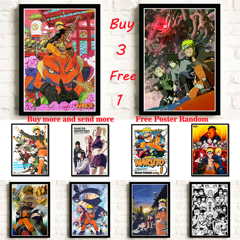 NARUTO Poster Coated Paper Poster Comics  Painting Bar Kids Room Decor  Frameless