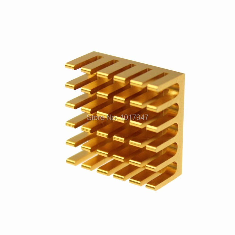 2 Pieces LOT 22x22x10mm Golden Aluminum Heatsink Radiator Cooler for Electronic IC LED Computer