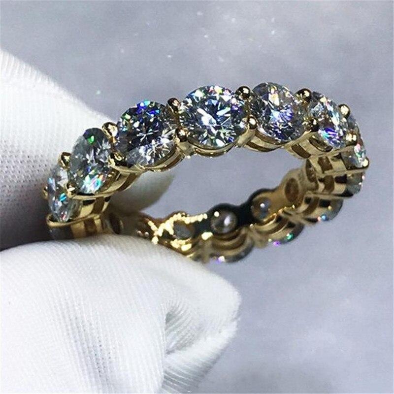 3 farben Liebhaber unendlichkeit Band ring 925 Sterling silber Verlobungs trauringe für frauen männer 4mm AAAAA zirkon kristall Bijoux