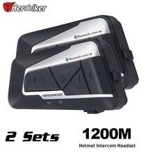 Free shipping 2pcs 1200m Bluetooth Headset Motocross Intercom Auto Answer FM Interphone Motorcycle Helmet Intercom Headset
