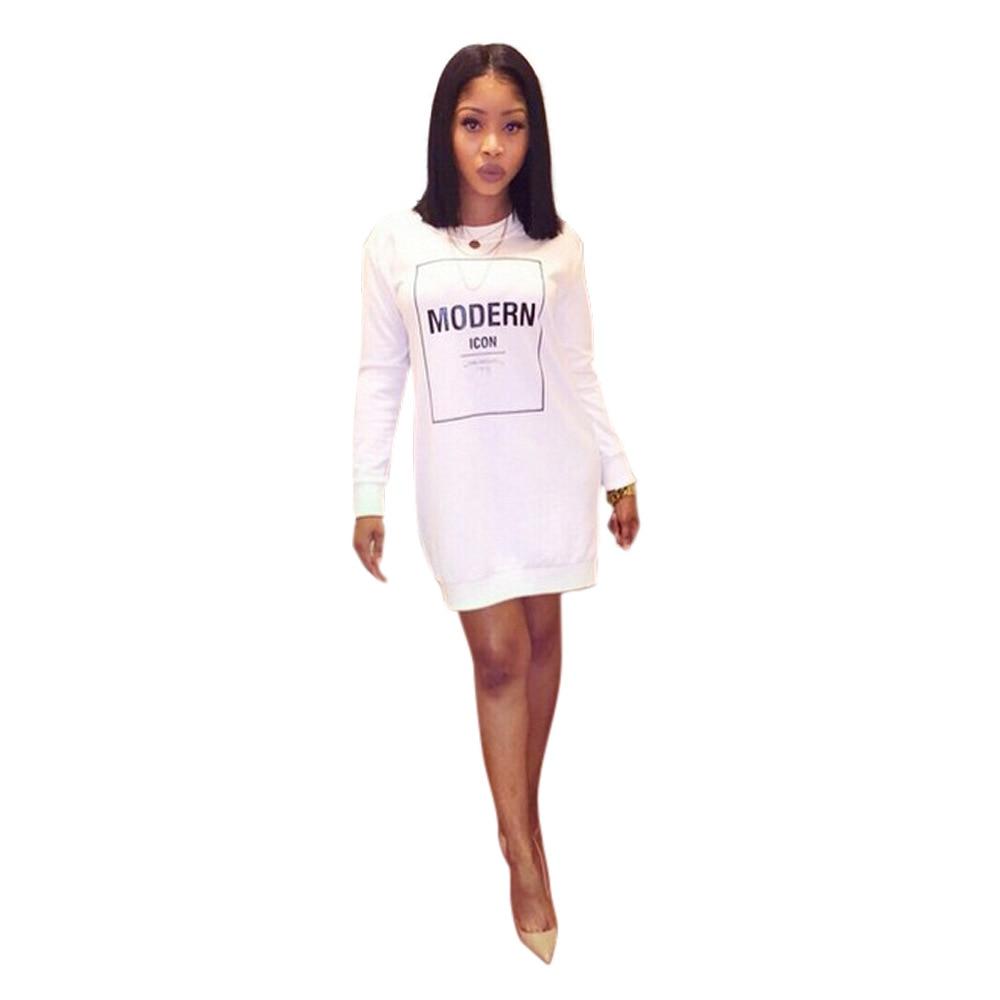 Modern dress casual - Modern Fashion Design White Dress Long Sleeve Casual Autumn Dress O Neck Sexy Dress Vestidos De