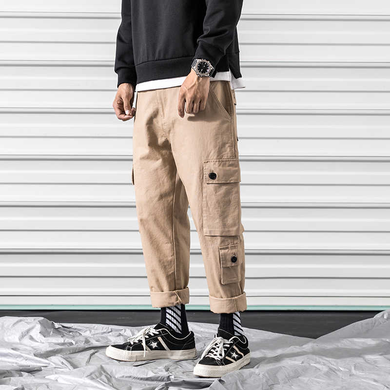 Pantalones Cargo hombres grandes Multi bolsillo elástico cintura Harem pantalón Hip Hop pantalones de chándal pantalones casuales Joggers masculino M-3XL