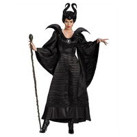 N Halloween Women Evil Witch Dress Black Sleeping Beauty Queen Maleficent Cosplay Costume Adult Dark Queen Fantasia Fancy Dress