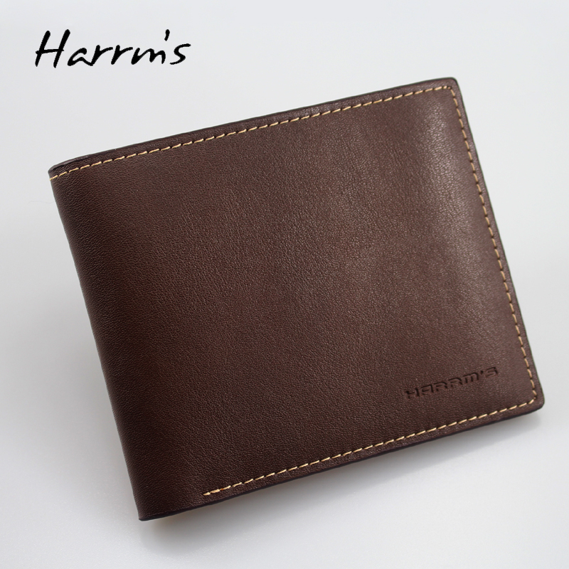 2017 New Harrms brand Split leather Men wallets Jean design style coffee color fashion short mens wallet free shipping