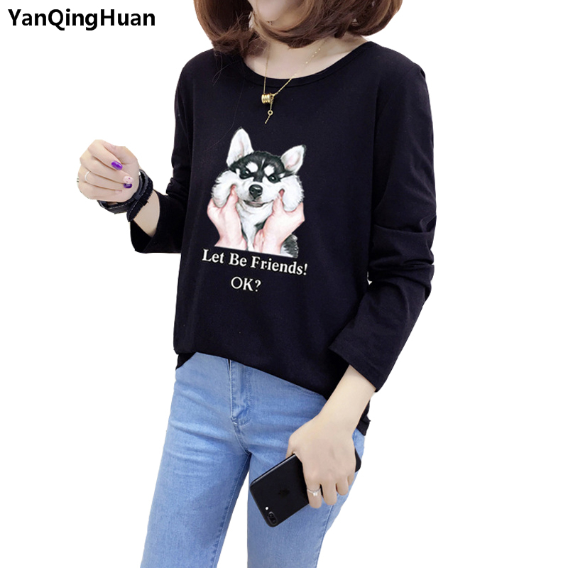 2018 New Fashion Cute Animal Puppy Print Harajuku Women's T-shirt Spring Casual Girl Style Long-sleeved Round Neck T-shirt Coat