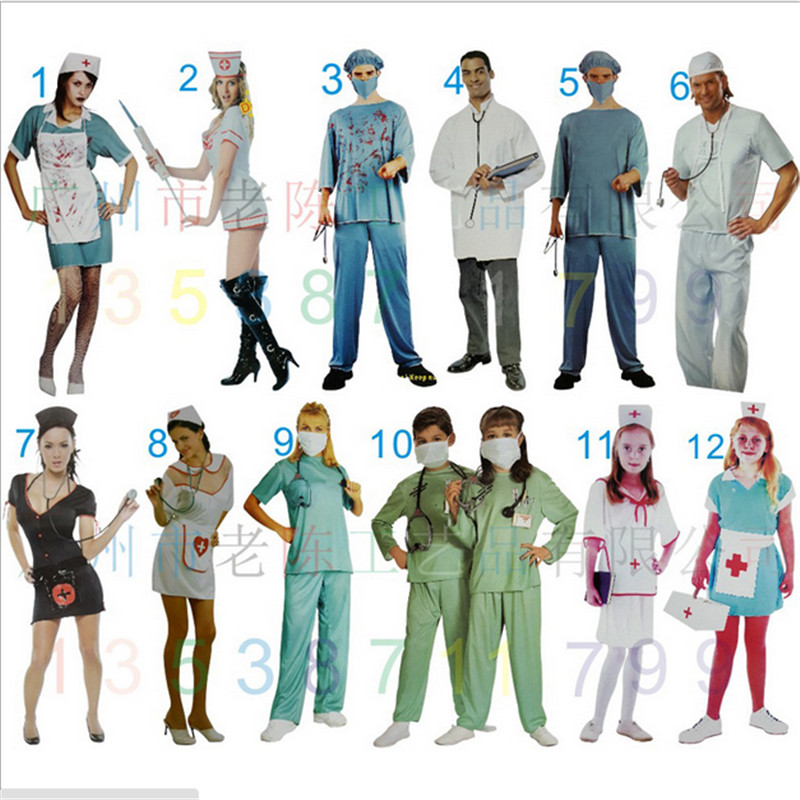 sexy nurse cosplay costumes for women nurse dress for girl new Halloween Attending Masquerade boy Man Doctor Cosplay clothing