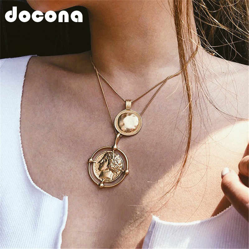 docona Punk Large Round Coin Pendant Necklace for Women Geometric Carved Charms Layered Necklaces Statement Jewelry Collars 6667