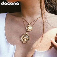 docona Punk Large Round Coin Pendant Necklace for Women Geometric Carved Charms Layered Necklaces Statement Jewelry Collars 6667 stylish layered round pendant necklace for women
