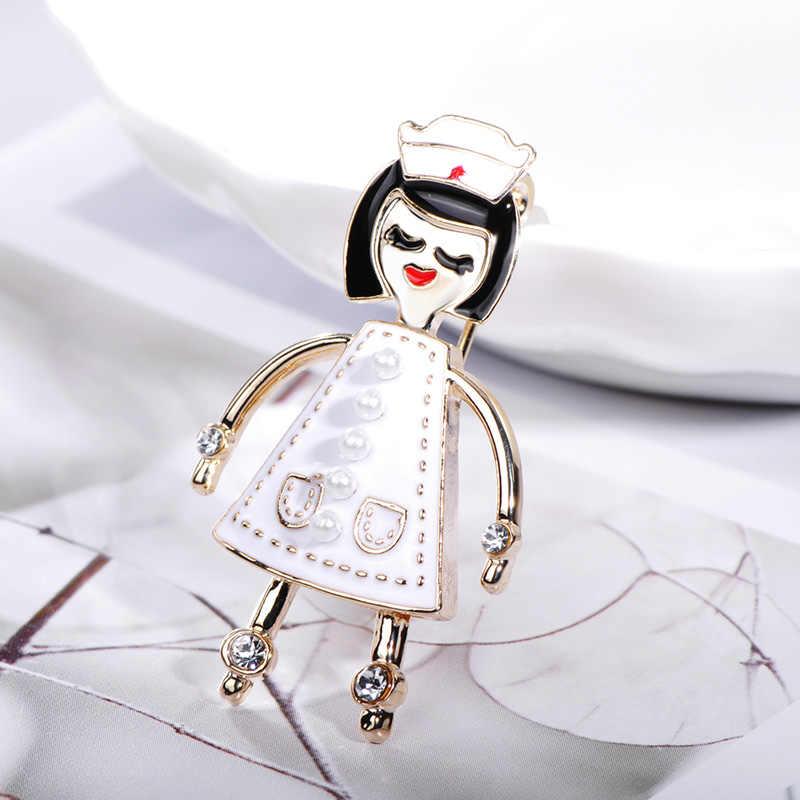 Blucome ファッションかわいいショート髪の少女形状ブローチジュエリーホワイトエナメル合金女性のための子供のコートスカーフアクセサリー