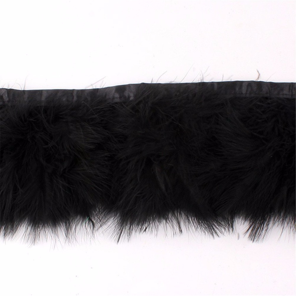 10 meters black turkey marabou feather trim trimming fringe ribbon on boas tape 15 20cm Height
