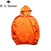 fashion color orange hooides men's thick clothes winter sweatshirts men Hip Hop Streetwear solid fleece hoody man Clothing
