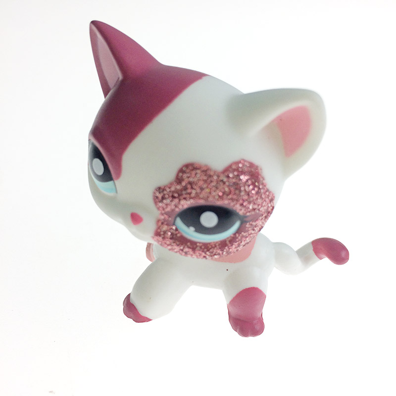 Pet shop Sparkle Eyes White Red Short Hair kitty action figure girl's Collection classic animal pet LPS toys European dainese action short 11 12
