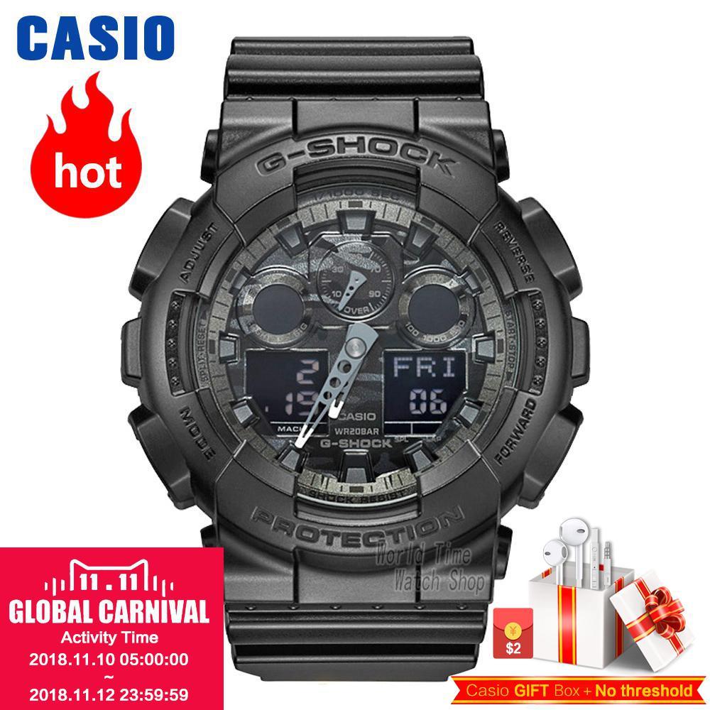 CASIO часы мужские | Модные камуфляжные водонепроницаемый смолы спортивные мужские часы GA-100CF-1A GA-100CF-8A GA-100CB-1A GA-100C-8A GA-100CF-1A9