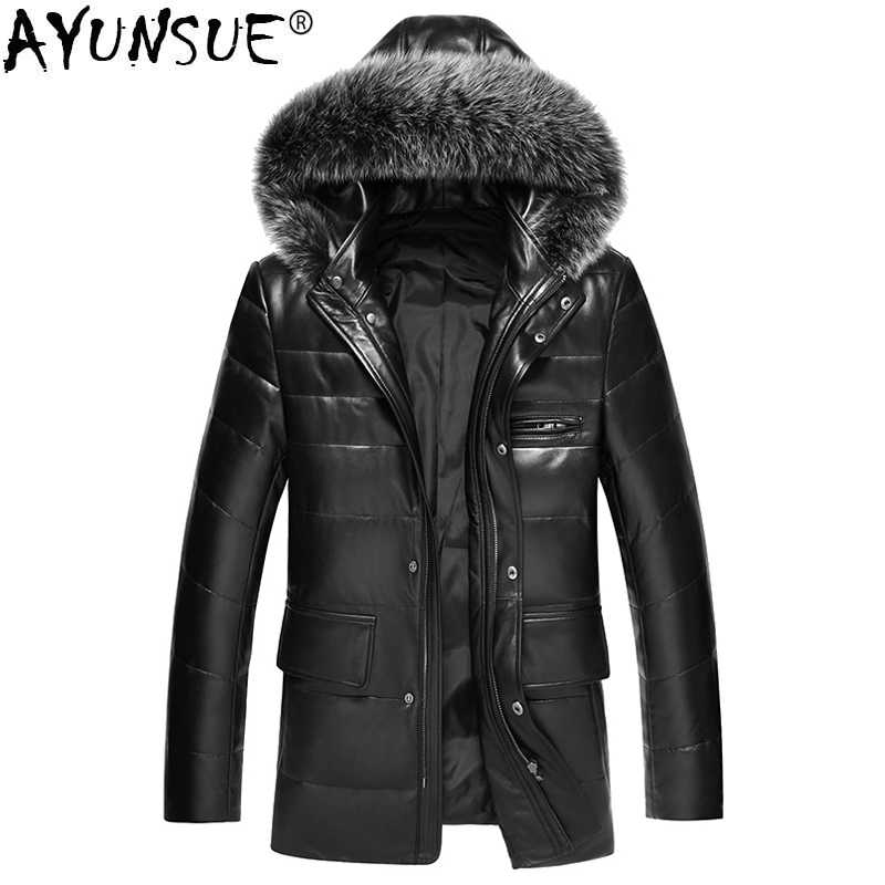 fa6ad2677619 AYUNSUE 2018 New Genuine Leather Jacket Men Winter Coat Hooded Korean Men's  Down Jacket Large Fur