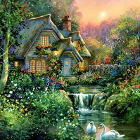 Beautiful Mountain Huts Scenery DIY Full 5D Diamond Painting Cross Stitch Embroidery Kit Mosaics Resin Square