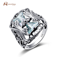 Luxury Charm Austrian Crystal Big Blue Stone Vintage Ring Wedding Engagement Bridal Jewelry 925 Sterling Silver