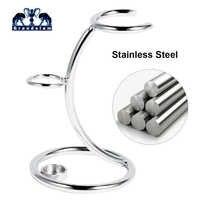 Men shaving tool holder 2 in1 silver/black/gold compact stainless steel curved shaving brush manual razor stand holders Beard Cl