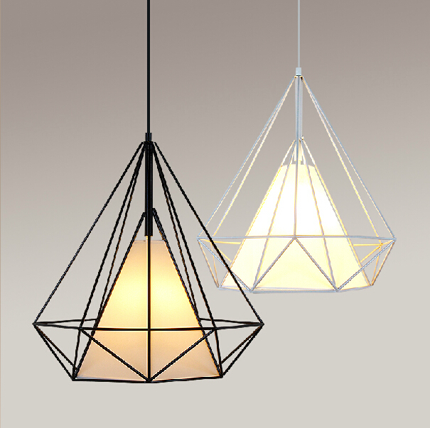 Nice Modern Pendant Light Diamond Shape Iron Pendant Lamp Size 38x38cm Black  White Pyramid Pendant AC 90