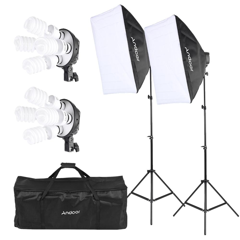 Andoer Studio Photo Lighting Kit with 2 Softbox 2 4in1 Bulb Socket 8 45W Bulb 2