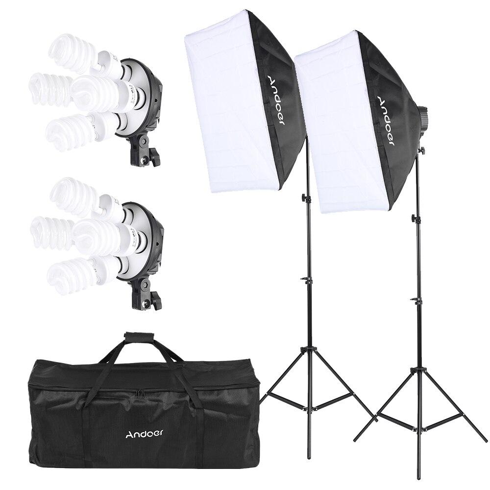 Andoer Studio Foto Beleuchtung Kit mit 2 * Softbox 2*4in1 Birne Buchse 8*45 watt Birne 2 * licht Stehen 1 * Trage Tasche-in Fotostudio-Zubehör aus Verbraucherelektronik bei AliExpress - 11.11_Doppel-11Tag der Singles 1