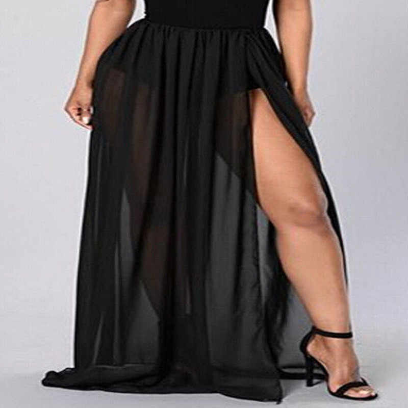 889d87bc0 Sexy Women's See Through Sheer High Side Split Skirts Black White Pleated  Chiffon Elastic Maxi Long