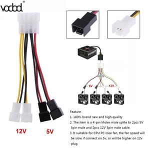 Image 3 - 1 pcs/lot ordinateur ventilateur de refroidissement câbles dalimentation 4Pin Molex à 3Pin ventilateur câble dalimentation adaptateur connecteur 12 v * 2/5 v * 2 pour CPU PC boîtier ventilateur