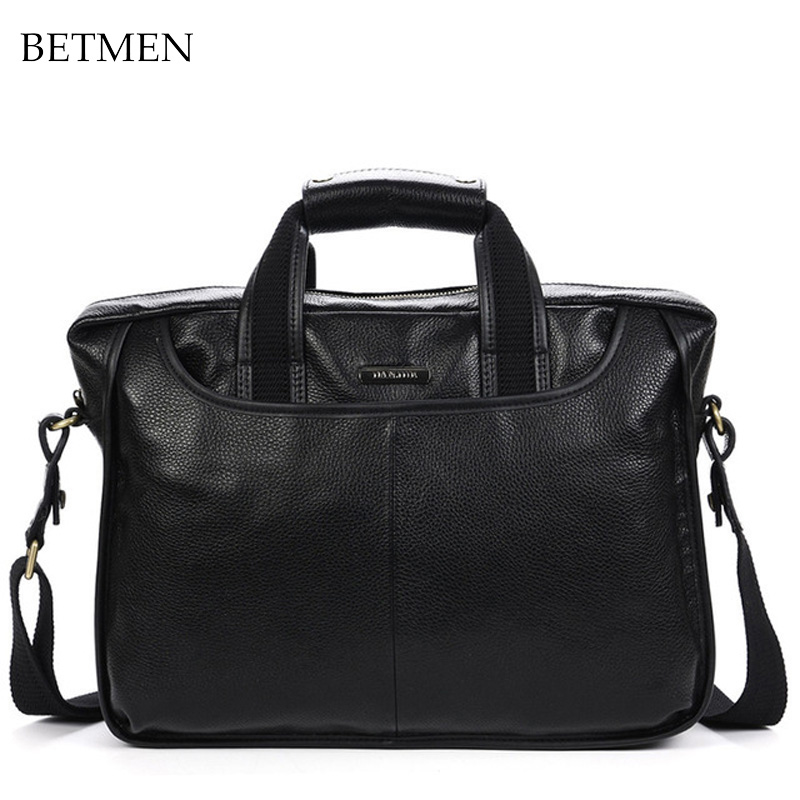 2014 fashion genuine leather bag men handbag shoulder bags brand business men's leather briefcase laptop bag