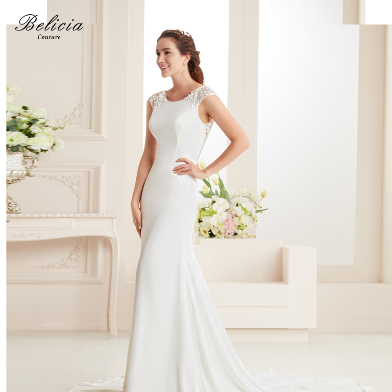 Crepe Wedding Gown: Belicia Couture Women Lace Crepe Stain Mermaid Gown