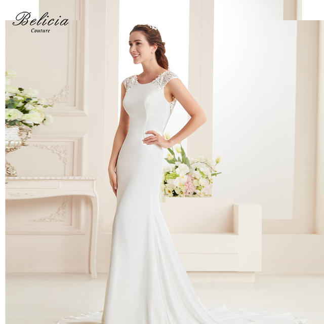 Belicia Couture Women Lace Crepe Stain Mermaid Gown Beading Wedding ...
