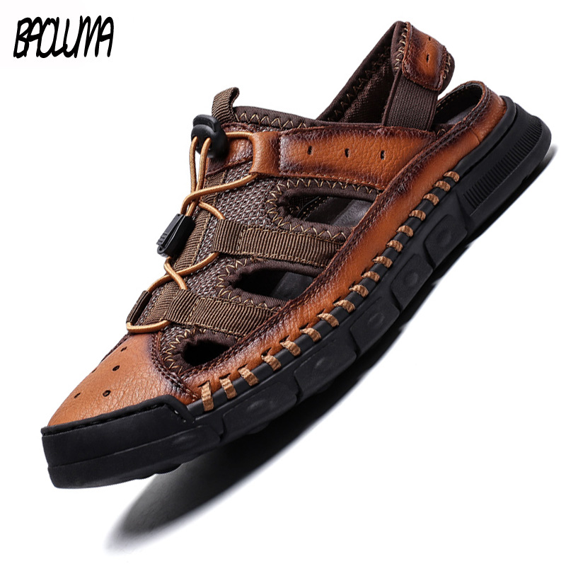 New 2019 Summer New High Quality Leather Outdoor Shoes Men Sandals Casual Classic Water Walking Beach Sandalias Sandal Big Size
