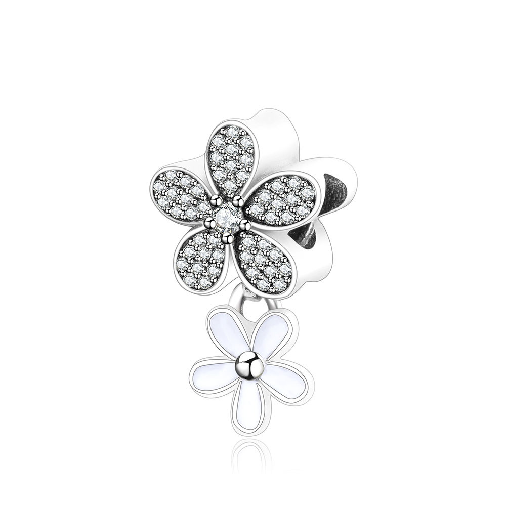 925 Sterling Silver DIY Beads Dazzling Daisy Duo Charms With White Enamel Clear CZ Fits Original Pandora Charms Bracelet Jewelry