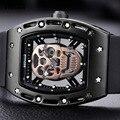BAOGELA Мужская мода Премиум кварцевые часы Скелет Череп аналоговые спортивные наручные часы для мужчин силиконовый ремешок 1612-черный-розовый