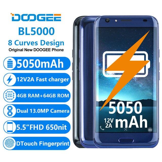 Doogee BL5000 двойной 13.0MP Камера Android 7.0 5050 мАч 12V2A Быстрая зарядка 5.5 ''FHD MTK6750T восемь ядер 4 GB RAM 64 GB смартфон ROM