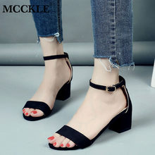 MCCKLE Summer Women Shoes Gladiator Buckle Strap Cover Heel Fashion Chunky Ladies Sandals For Woman Ankle Strap Footwear(China)