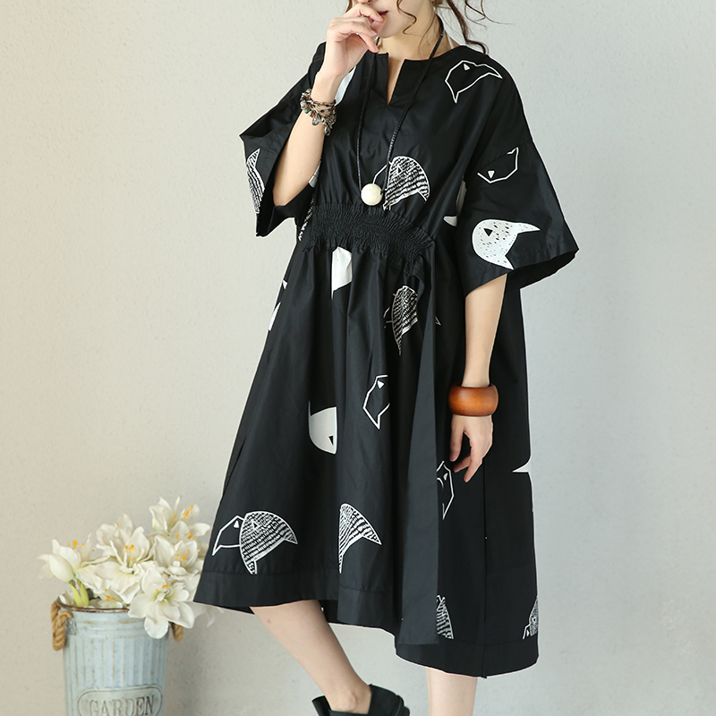 2019 female new summer black white origami fish print cotton berif waist fold belt long dress