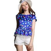 Polka Dot Printing Sweet Girls Blue T Shirt White Shorts Summer Set Office Girls Cute Uniform