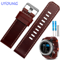 26mm Brown leather wristband quality genuine leather watch band with tools for Garmin Fenix 3